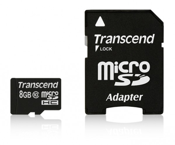 8GB Transcend microSDHC Memory Card Extreme Speed Class 10 with SD Adapter